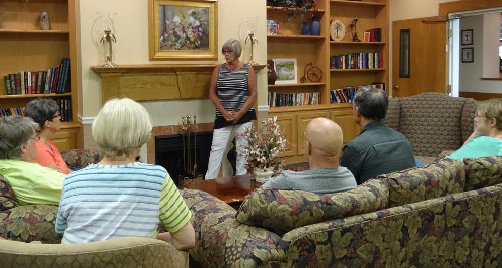 Sandra discusses water issues with interested parties